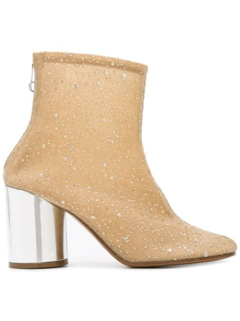 Maison Margiela Glitter-Embellished Ankle Boots In Neutrals