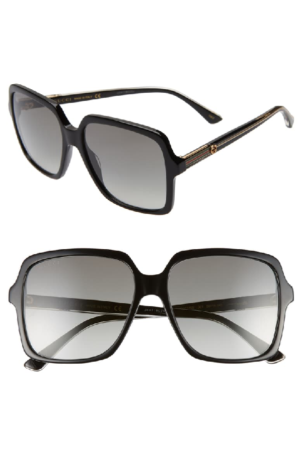 Gucci 56Mm Square Sunglasses - Black/ Crystal/ Grey Gradient
