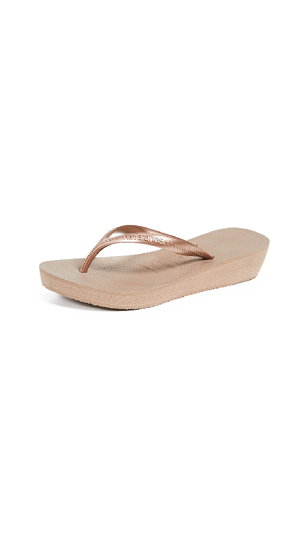 71c0c2a10e76e0 Havaianas High Light Wedge Flip Flops In Rose Gold