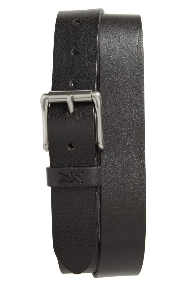 Frye Flat Panel Leather Belt In Black