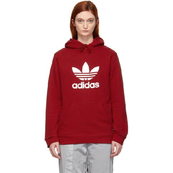 Adidas Originals Red Trefoil Logo Warm Up Hoodie