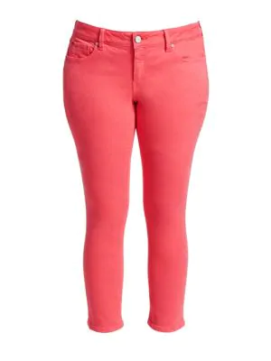 Slink Jeans, Plus Size Women's Mid-rise Straight Jeans In Calypso Coral