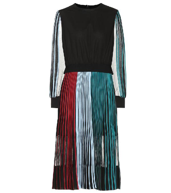Bodice Studio Pleated Cotton Midi Dress In Multicoloured