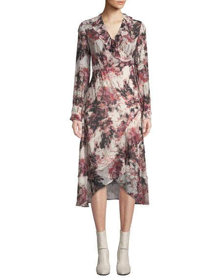 Iro Ruffle-Trimmed Floral-Print Georgette Wrap Dress In Ecru