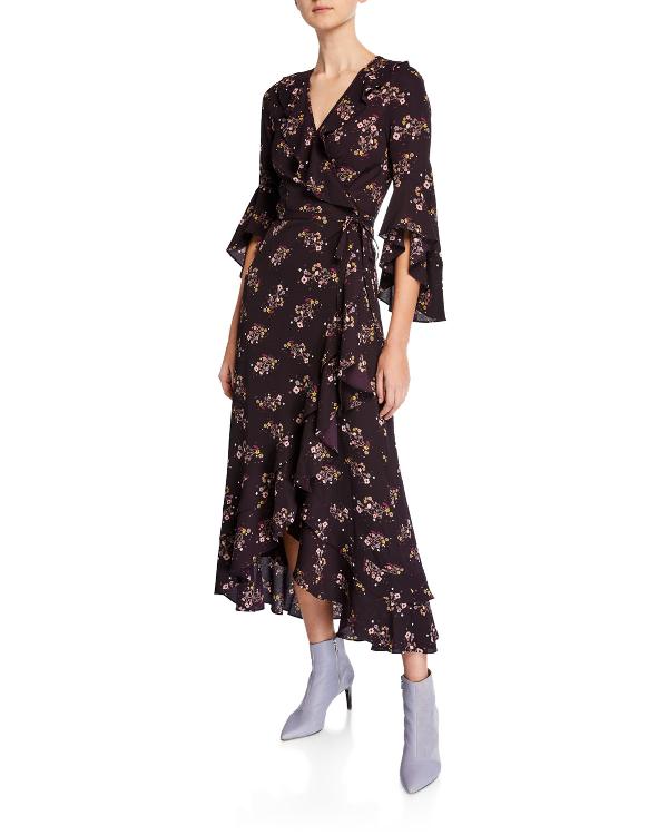 Max Studio Floral Print Ruffle Trim Wrap Dress In Purple