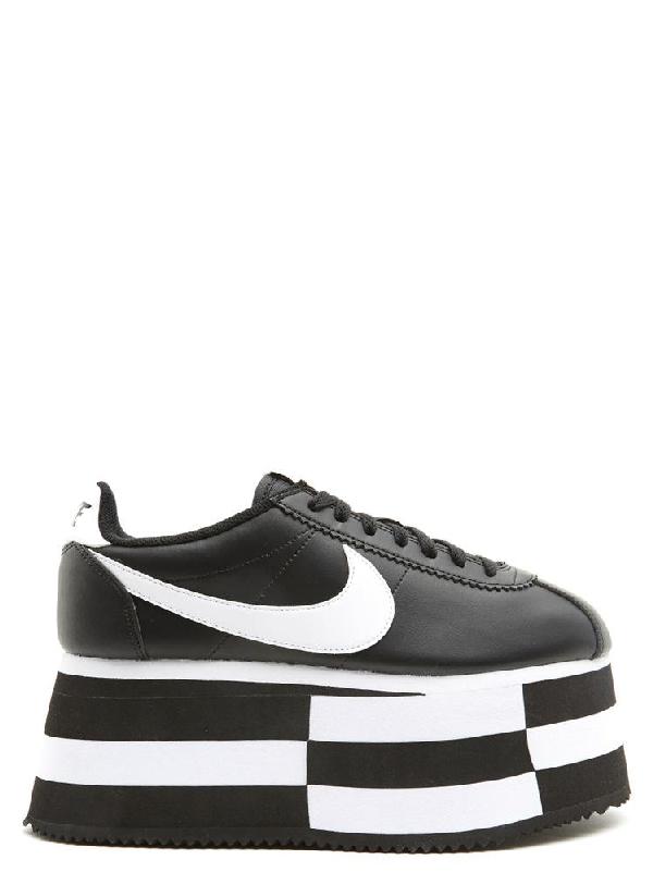 official photos f225c 25d5c Comme Des Garçons X Nike Cortez Wedge Platform Sneakers in Black