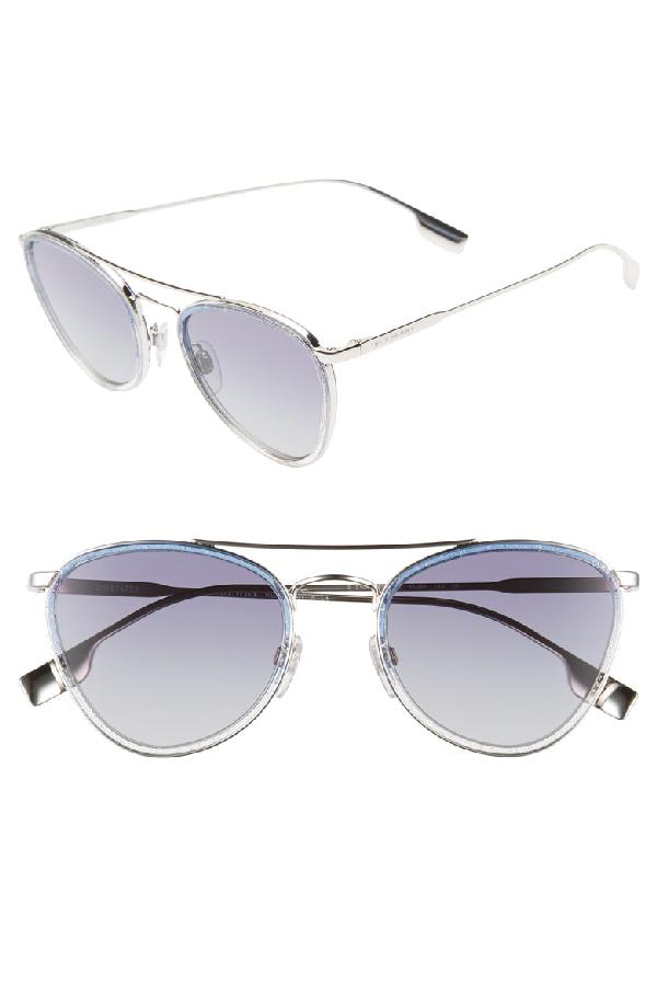 04a5bf3cdc Burberry 51Mm Aviator Sunglasses - Silver  Blue Glitter Gradient ...