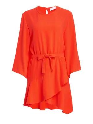 Iro Wrap Flounce Hem Mini Dress In Orange