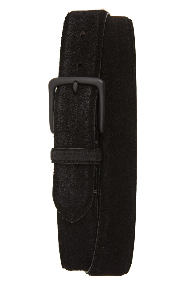 Allsaints Distressed Suede Leather Belt In Black/ Matte Black