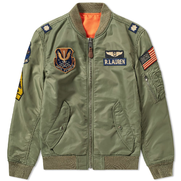 Green Polo Ralph Patches Bomber Lauren In Military Jacket cK1JlF