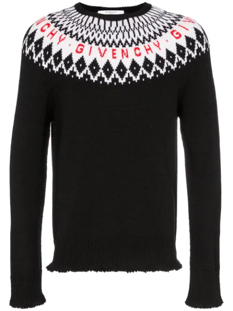 Givenchy Patterned Wool Logo Sweater In Black