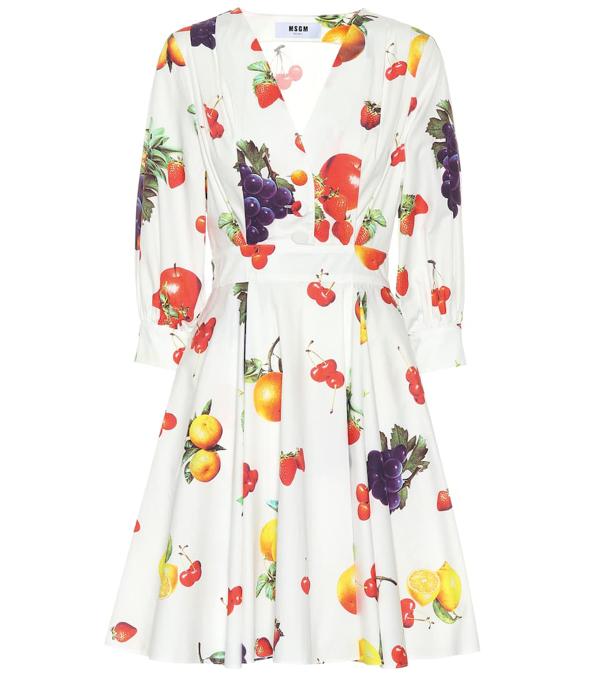 Msgm Printed Cotton Dress In White