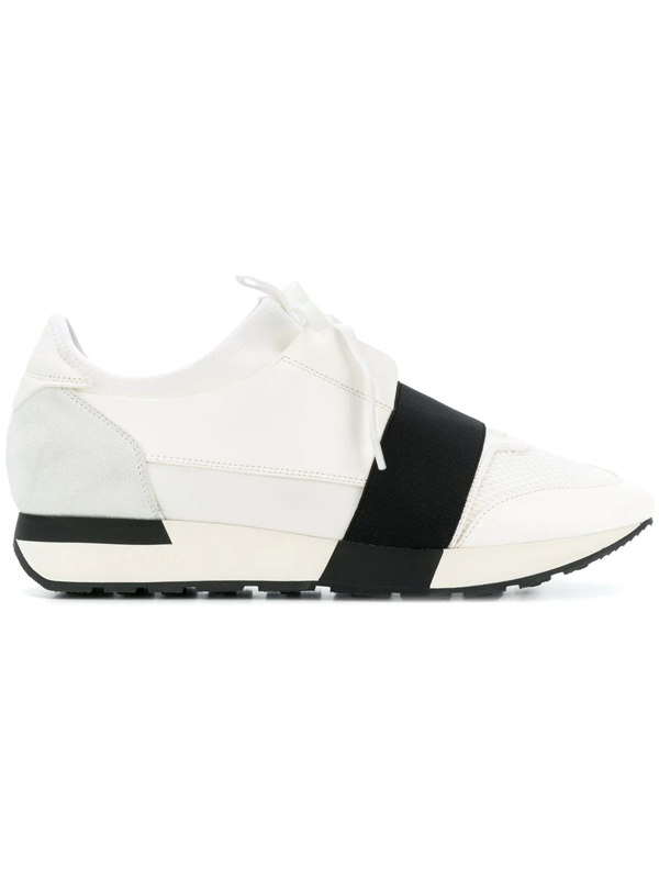 Balenciaga Race Runner Leather, Neoprene, Suede And Mesh Sneakers In White
