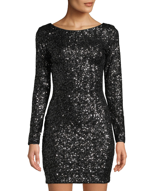 194c60c98ff Dress The Population Lola Long-Sleeve Scoop-Back Sequined Mini Cocktail  Dress In Black