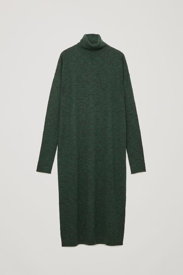 Cos Roll-Neck Wool Dress In Green