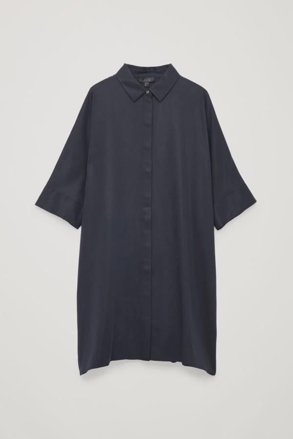 Cos Draped Boxy Shirt Dress In Blue