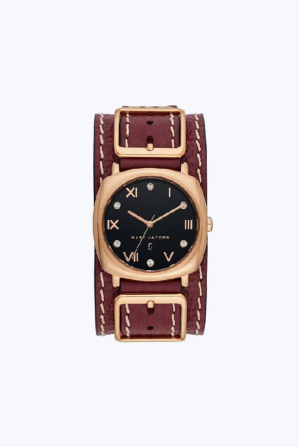 Marc Jacobs Mandy Leather Strap Watch, 34Mm In Burgundy/Rose Gold