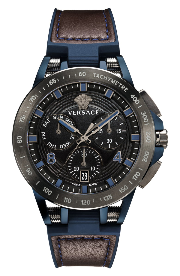 Versace Sport Tech Chronograph Leather Strap Watch, 45Mm In Blue/ Black/ Silver