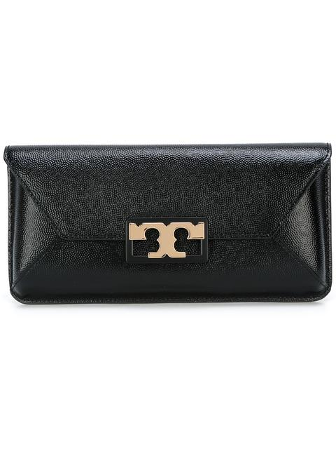 Tory Burch Gigi Caviar Leather Clutch - Black