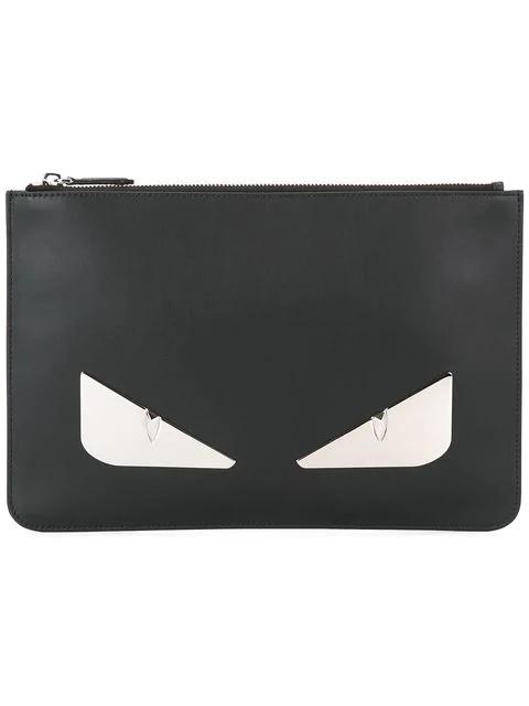 bc2ecd7e8dc7 Fendi Bag Bugs Black Leather Clutch