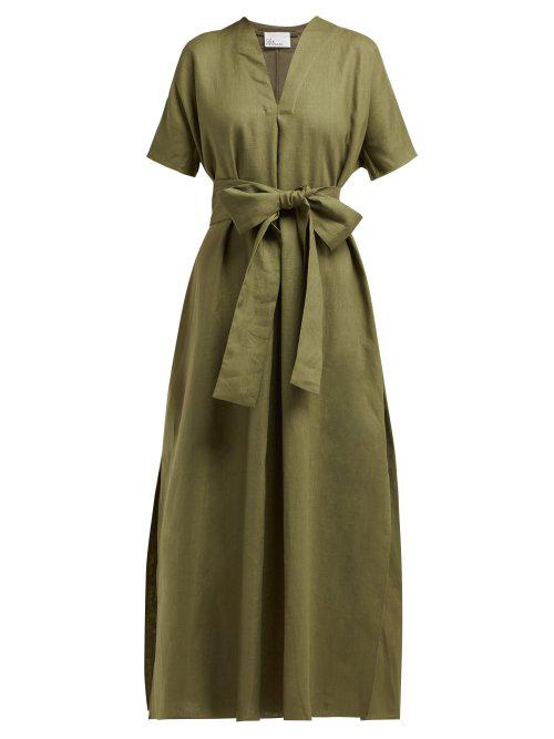 Lisa Marie Fernandez Rosetta V-neck Linen Midi Dress In Khaki-green
