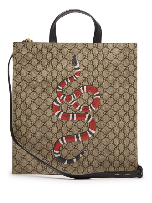 daa6936794b67e Gucci Gg Supreme And Kingsnake-Print Tote Bag In Beige | ModeSens