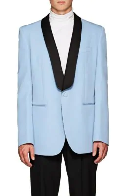 Calvin Klein 205W39Nyc Light-Blue Oversized Satin-Trimmed Wool Tuxedo Jacket In Lt. Blue