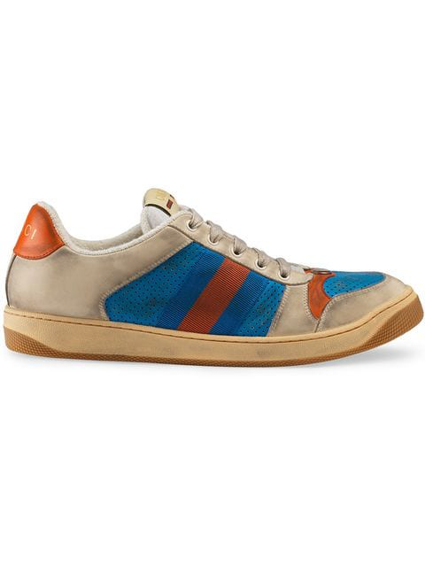 Gucci Virtus Distressed Leather And Webbing Sneakers In Neutrals