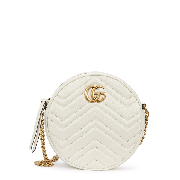b11655692 Gucci Gg Marmont Mini Round Leather Crossbody Bag In White | ModeSens
