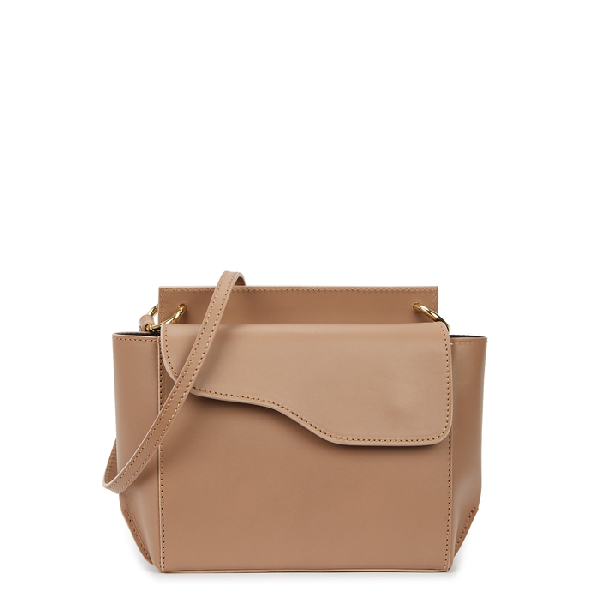 Atp Atelier Aulla Taupe Leather Cross-Body Bag In Beige