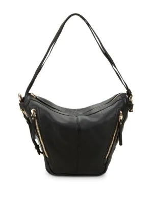 Vince Camuto Pebbled Leather Zipper Hobo Bag In Black