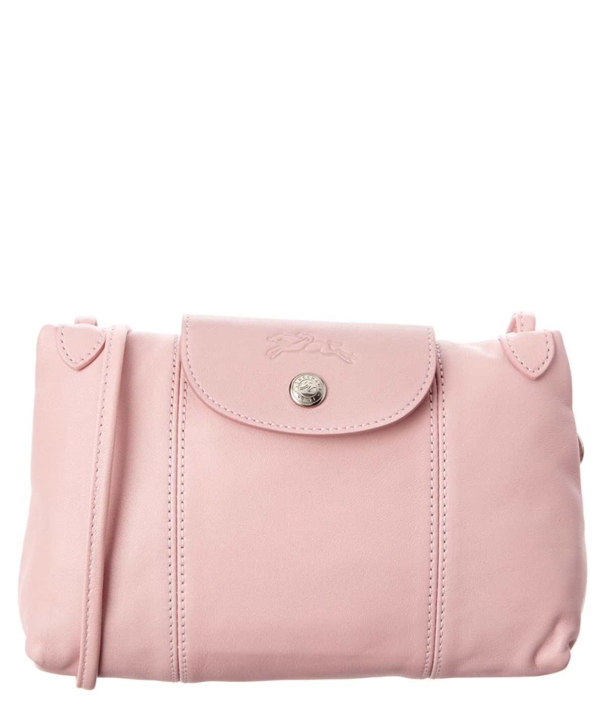 Longchamp Le Pliage Cuir Leather Crossbody' In Pink