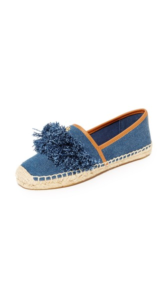 c3aef1a8d Tory Burch Shaw Fringe Espadrille Flat, Denim Blue/Royal Tan In Blue Denim/