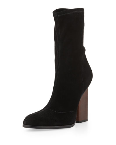Alexander Wang Black Stretch Suede Gia Boots