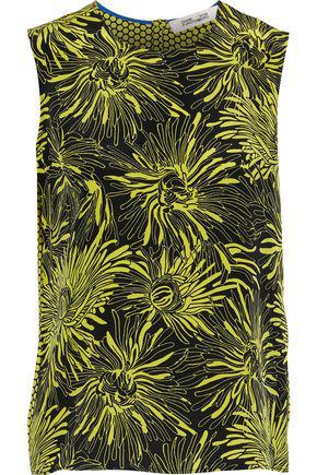 Diane Von Furstenberg Woman Printed Silk Top Sage Green