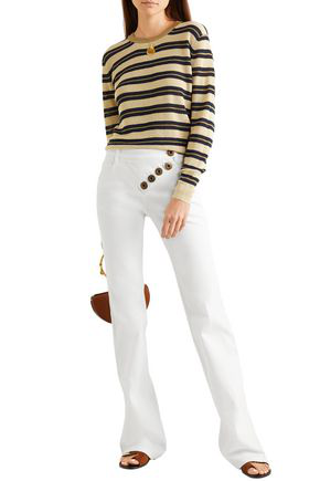 Chloé Button-detailed Mid-rise Bootcut Jeans In White
