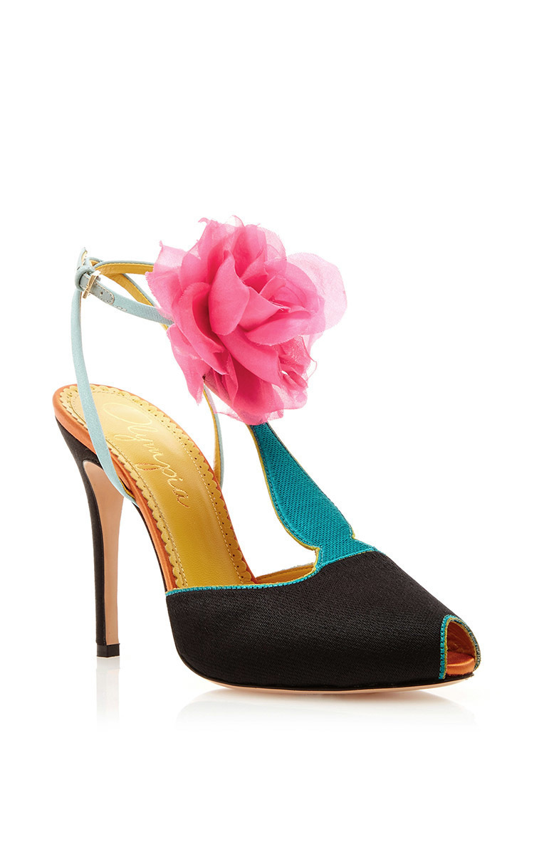 Charlotte Olympia Silk Satin Amphora T Strap Heels With Floral Pom Pom In Multi