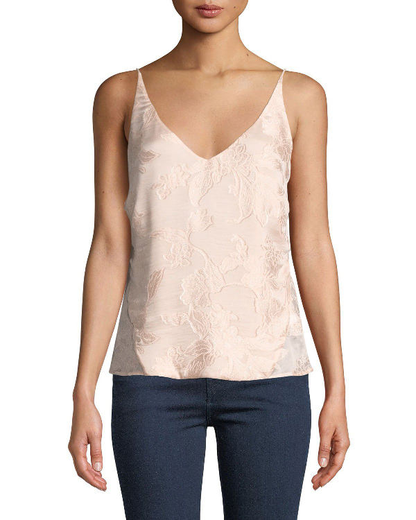 J Brand Lucy Floral Jacquard V-Neck Camisole In Lulled