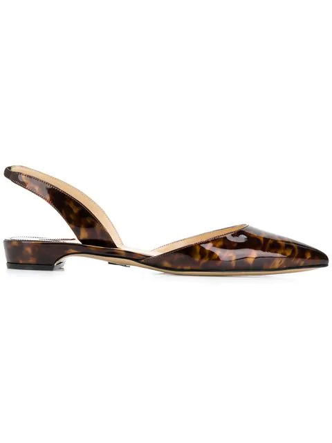 Paul Andrew Rhea Point Toe Slingback Flats In Brown