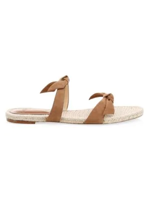 Alexandre Birman Clarita Braided Suede Slide Sandals In Tan