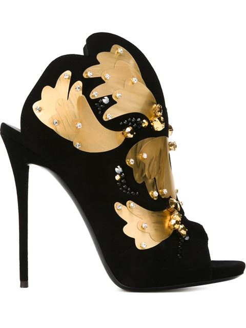 Giuseppe Zanotti Coline Embellish Black Suede High Heel Sandal