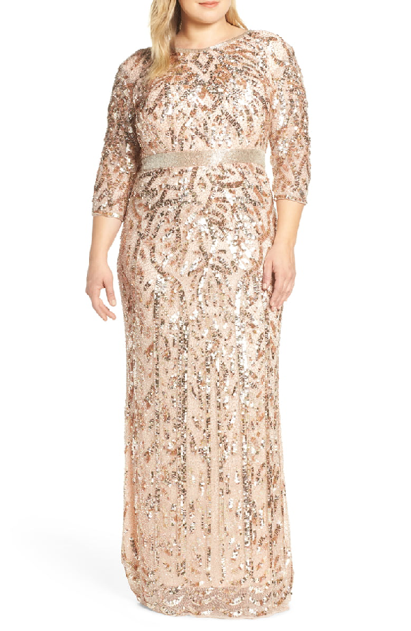 Plus Size Bateau-Neck 3/4-Sleeve Sequin Column Gown in Rose Gold