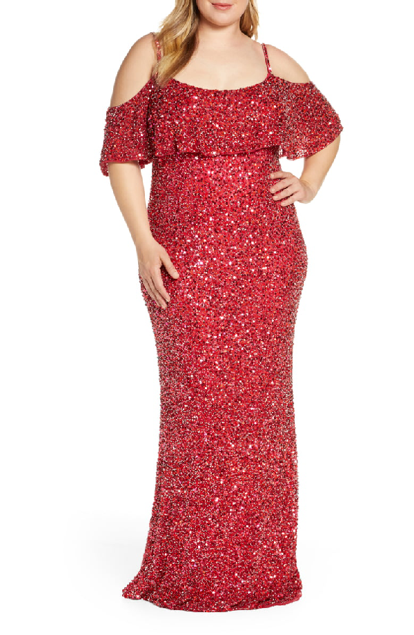 Mac Duggal Plus Size Cold-Shoulder Sequin Column Gown In Cherry ...