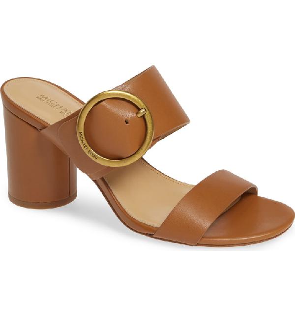 aa68f87f7 Michael Michael Kors Estelle Mid-Heel Slide Sandals In Acorn Vachetta  Leather