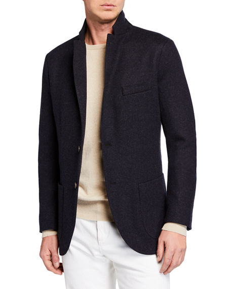 Loro Piana Men's Heathered Cashmere Sweater Jacket In Blue/gray