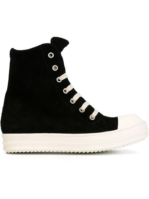 Rick Owens Leather And Shearling High-Top Sneakers