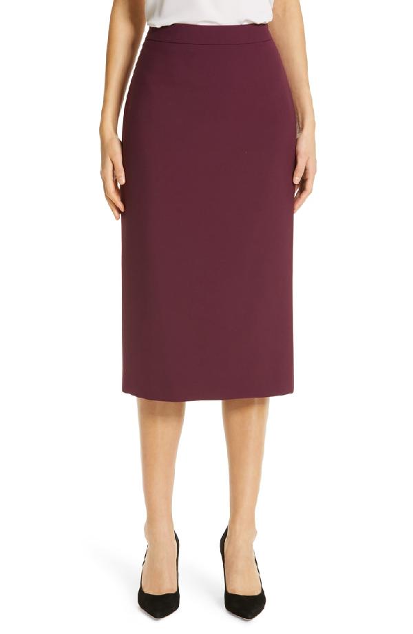 1927946816 BOSS. Minoa Long Soft Stretch Doubleface Soft Pencil Skirt in Dark Berry