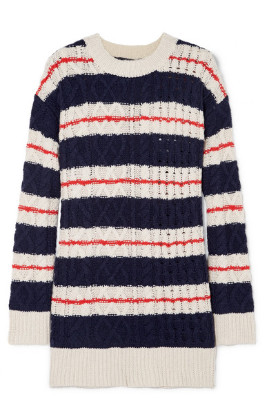 J.Crew Gabby Striped Cable-Knit Merino Wool-Blend Sweater In Navy