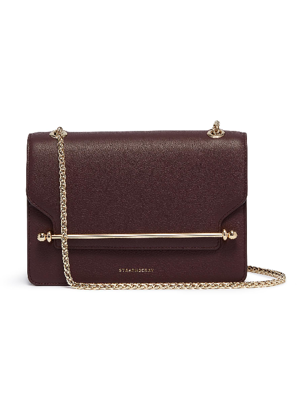 Strathberry 'east West' Leather Crossbody Bag In Dark Red