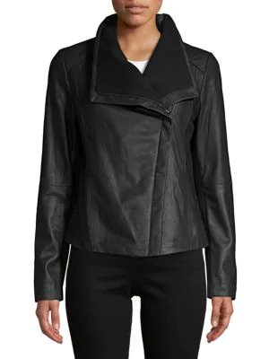 T Tahari Leather Moto Jacket In Black